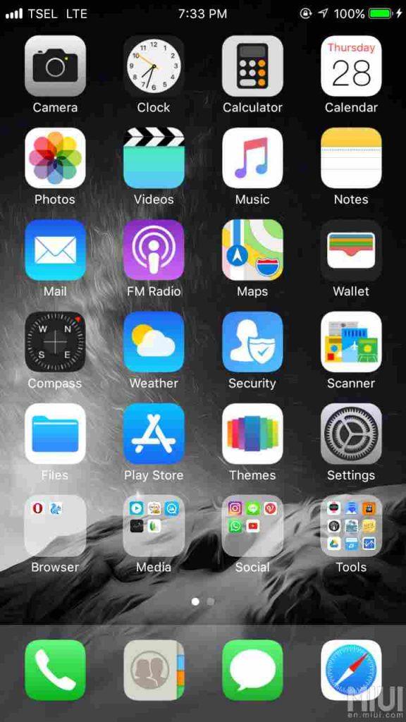Tema iOS 11 Pro Xiaomi
